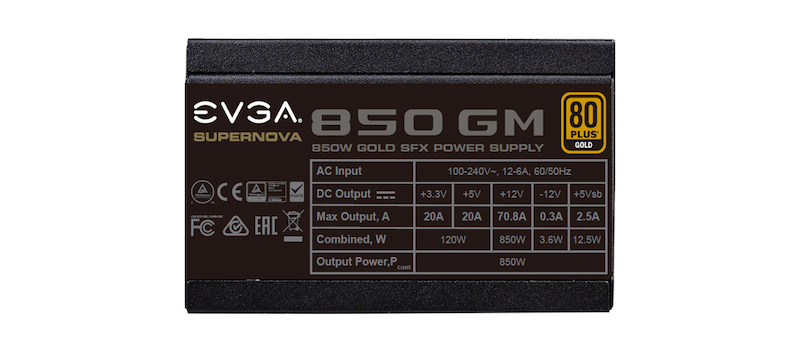 Specifications of EVGA's SuperNOVA printed on the power supply.