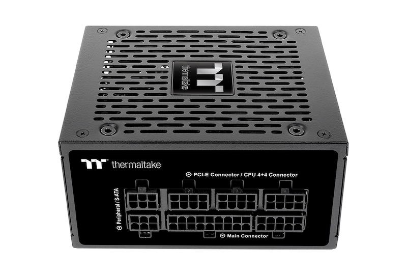 Back end of Thermaltake Toughpower PSU with all the ports for modularity.