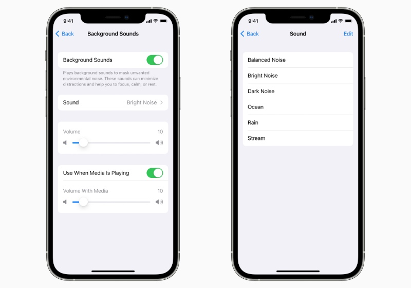 iPhone will be able to play background noises to help users focus or relax. (Image source: Apple)