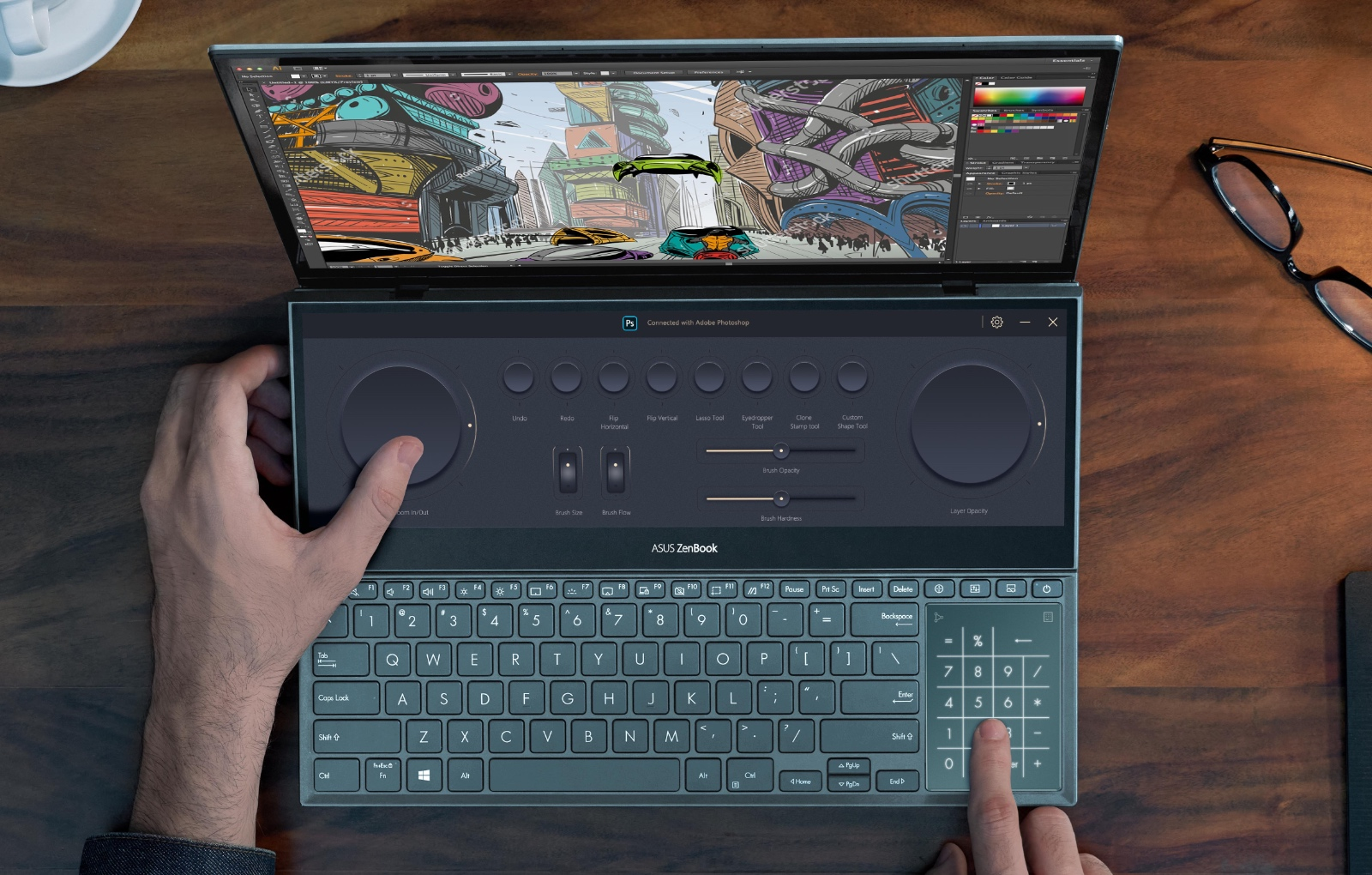 The ZenBook Pro Duo 15 OLED UX582 features enhancements to make the secondary display more usable. (Image source: ASUS)