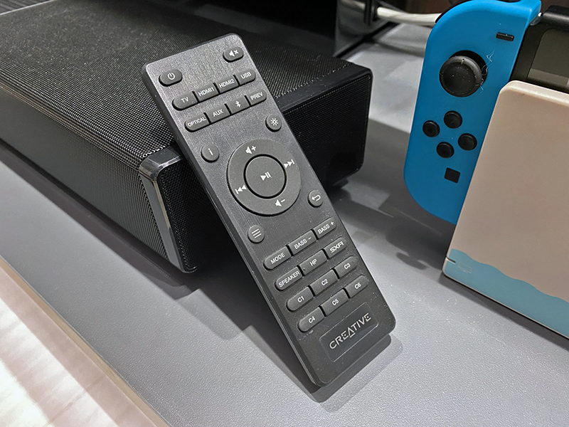 Don't be fooled by the faux-brushed metal look -- this remote feels cheap and has a high latency. You're probably better served by the soundbar's companion app on your phone for better control.