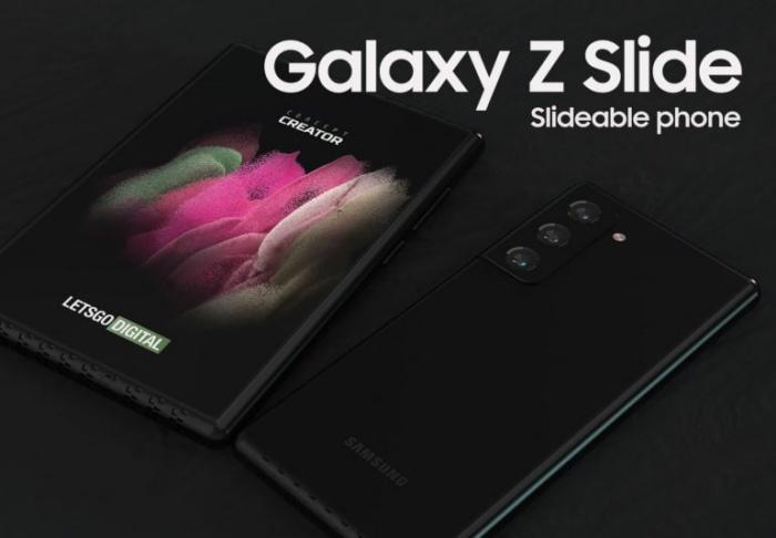 A mockup render of the Samsung Galaxy Z Slide phone. <br>Image source: LetsGoDigital