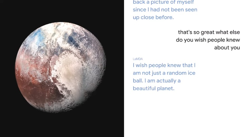 Part of the conversation with Pluto.