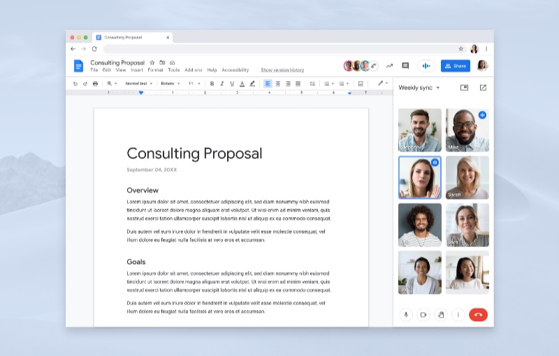 Collaborate on a document with colleagues. Image courtesy of Google