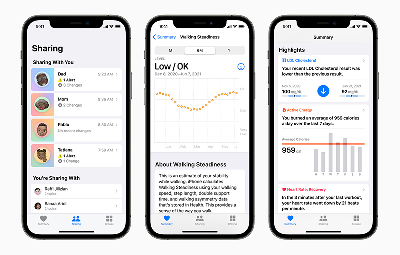 New health features via Apple's iOS 15 and other Apple platforms were announced at WWDC 2021.