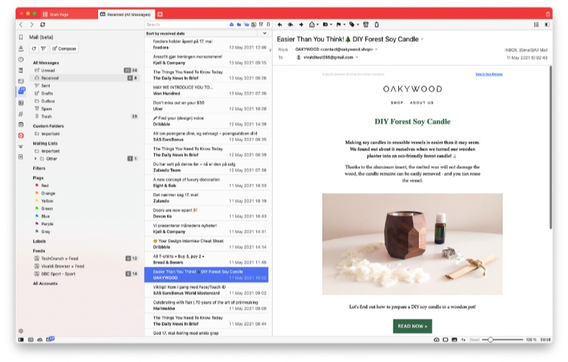 View all your different mail accounts in a single pane of view. Image courtesy of Vivaldi.