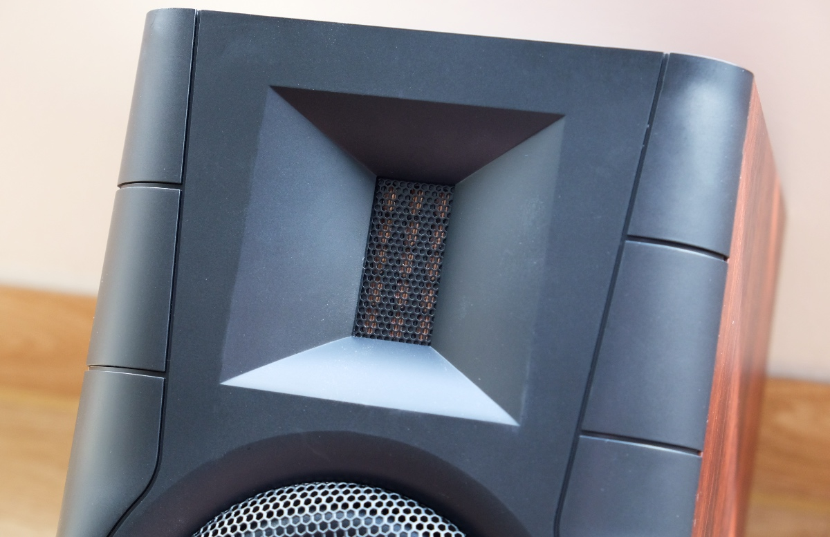 Instead of a typical soft dome tweeter, the D100 has an isodynamic ribbon tweeter. Note how it sits within a waveguide.