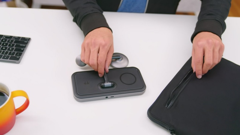 The HyperJuice 4-in-1 Wireless Charging Stand can be folded into a compact piece to fit into any backpack or laptop bag. <br>Image source: Hyper