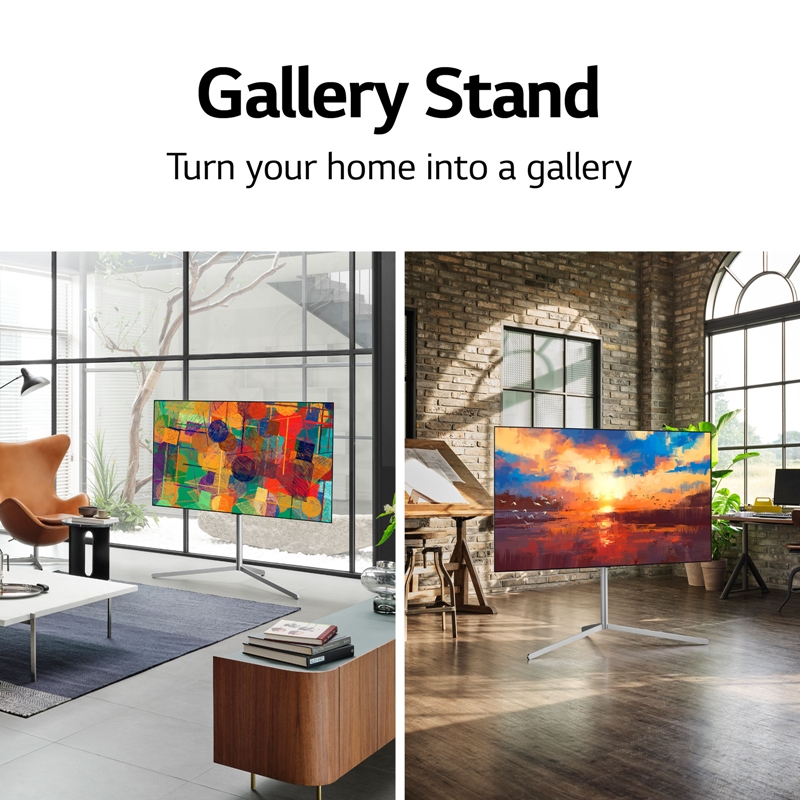 The optional Gallery Stand is compatible with most LG OLED TV models sized 55 or 65 inches, like those from the C1 and G1 series. (Image source: LG)