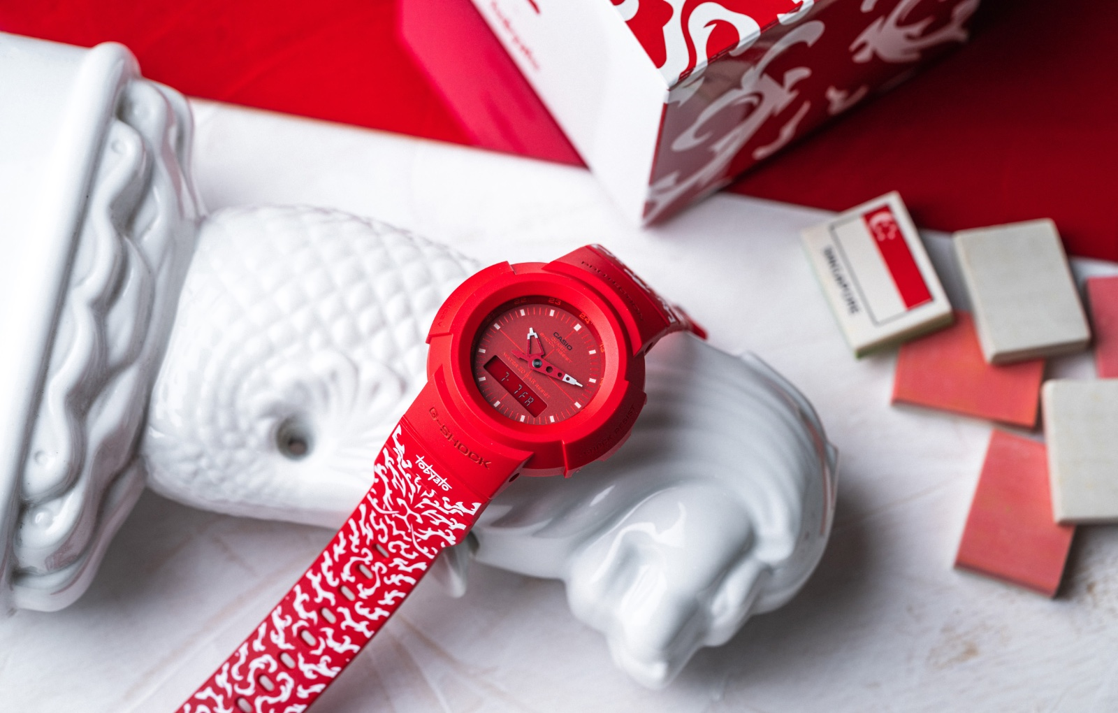 The lion graphic and flowing motifs are meant to embody the raw energy and tenacity that courses through Singapore. Image courtesy of Casio.