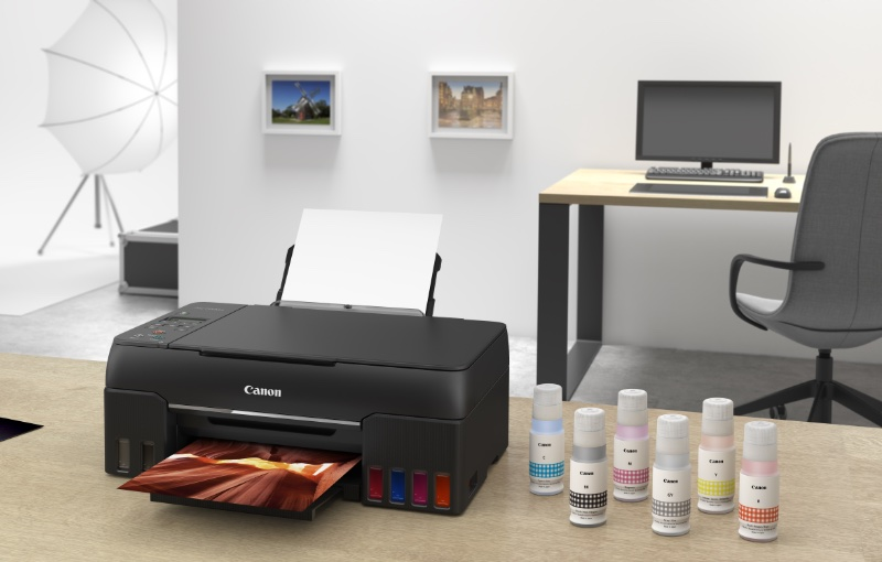 The Pixma G670 is a six-colour ink tank based AIO. Image courtesy of Canon.
