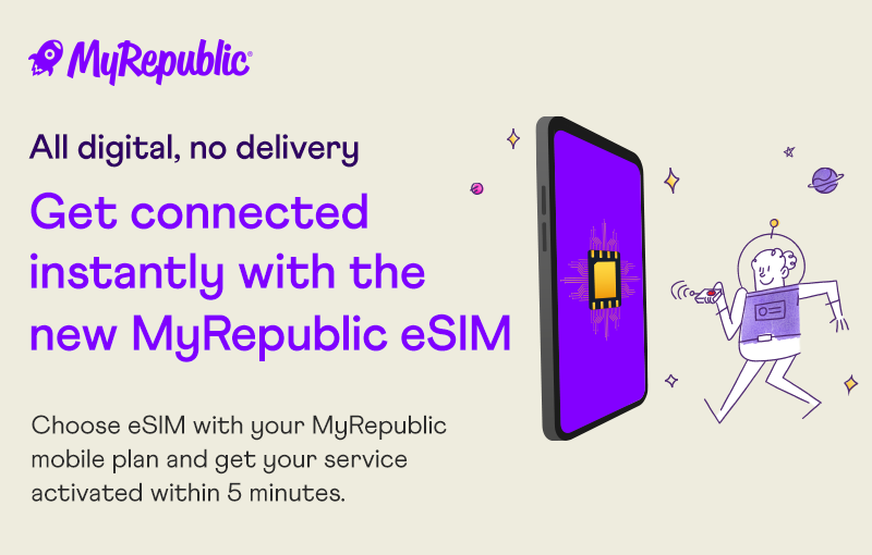 Subscribers don't need a physical SIM if they have an eSIM compatible device. Image courtesy of MyRepublic.