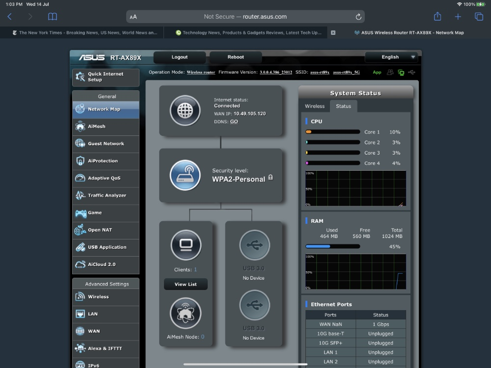 The router management interface should be familiar to longtime owners of ASUS routers.