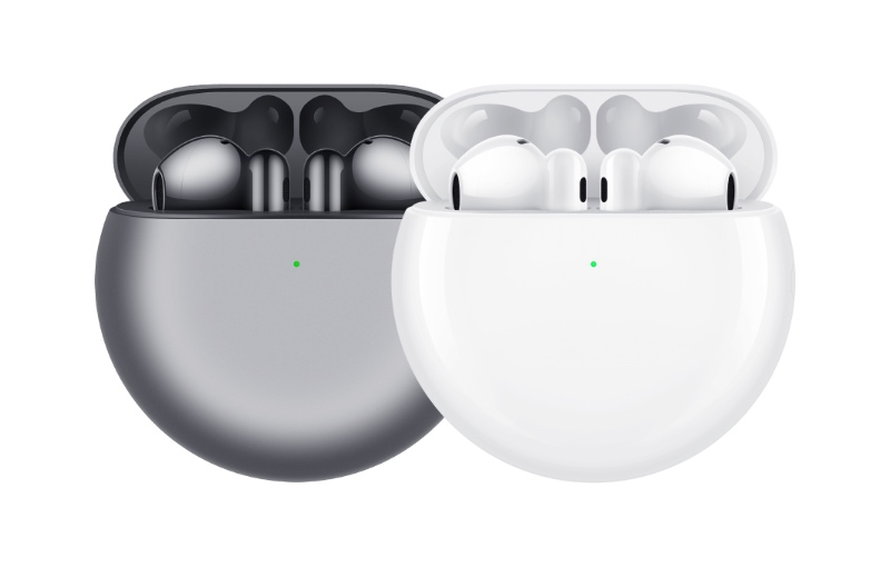 The FreeBuds 4 come in two colours: Silver Frost and Ceramic White. (Image source: Huawei)