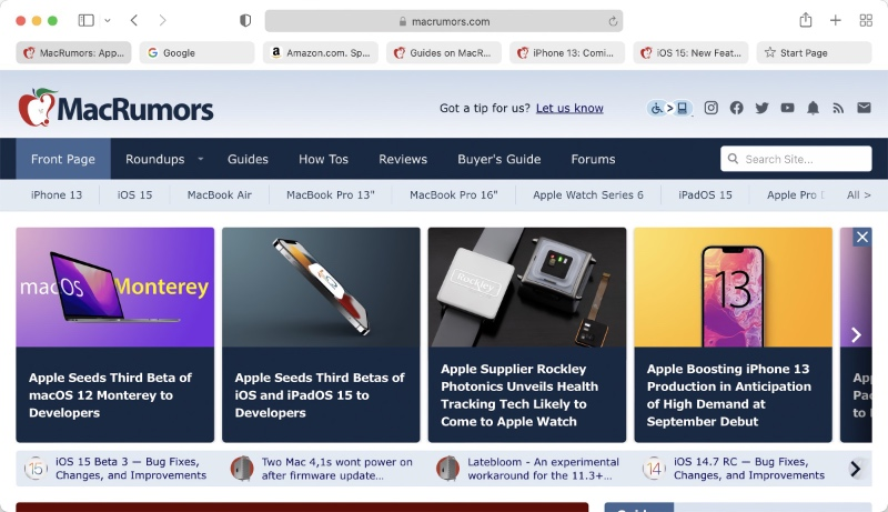 Safari in the third developer beta of macOS Monterey brings back the dedicated search and URL field. (Image source: MacRumors)