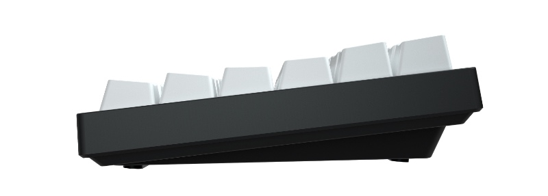 The keyboard is slightly angled. Feet are included to increase the angle of tilt. (Image source: Vissles)