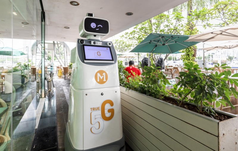 This 5G enabled robot can help people who are lost. Image courtesy of M1.