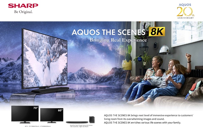 Enjoy 8K clarity in screen sizes of 60 and 70-inches. Image courtesy of Sharp.