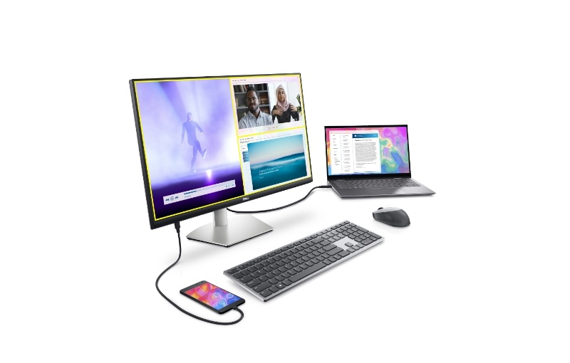 Keep your desk tidy with every centred around the USB-C enabled S2722QC. Image courtesy of Dell.