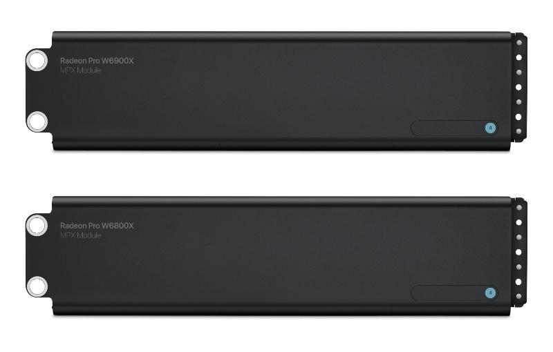 The Radeon Pro W6900X and W6800X. (Image source: Apple)