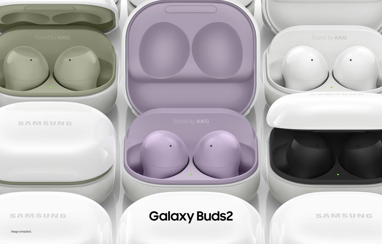 The new Samsung Galaxy Buds2. (Image source: Samsung)