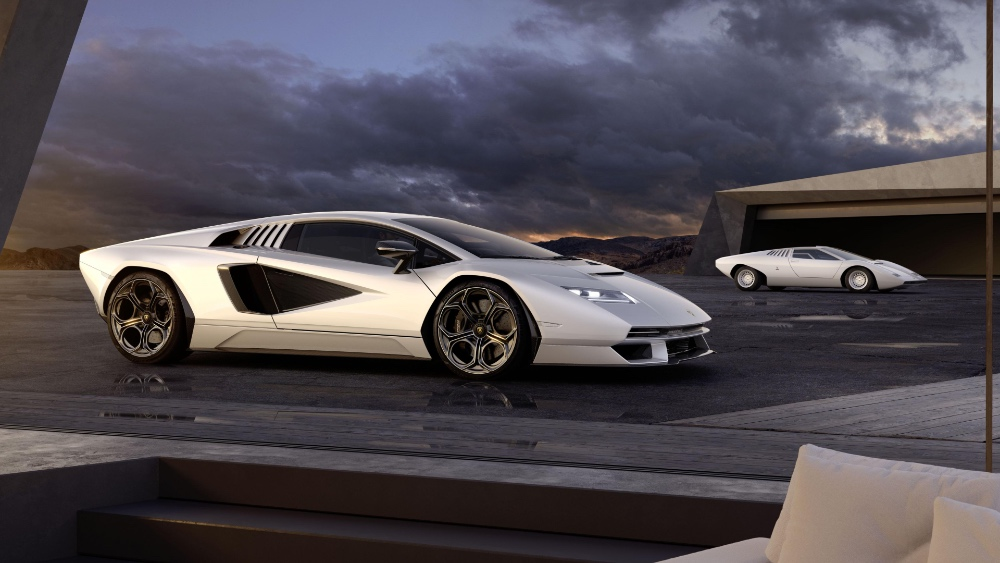 New Countach in front, old Countach in the rear. (Image source: Lamborghini)