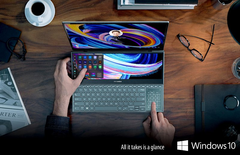 Chalking up yet another convenience feature, passwords are optional on this laptop... simply use your face to log in securely thanks to the Windows Hello supported IR webcam on the ZenBook Pro Duo 15 OLED and Windows 10 operating system.