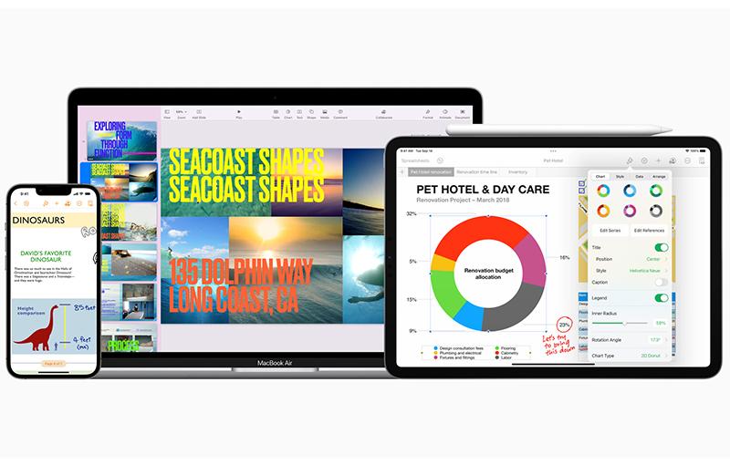 Apple iWork apps across iPhone, Mac, and iPad.