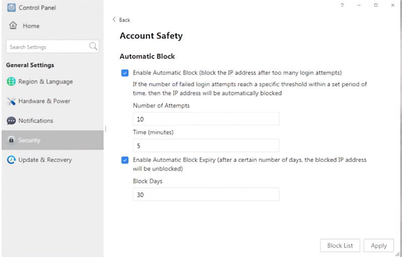 Malicious IPs can be blocked easily. Image courtesy of Terramaster.