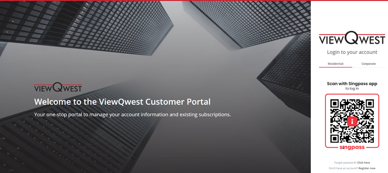 ViewQwest's customer login portal with Singpass implemented. Image credit: ViewQwest.