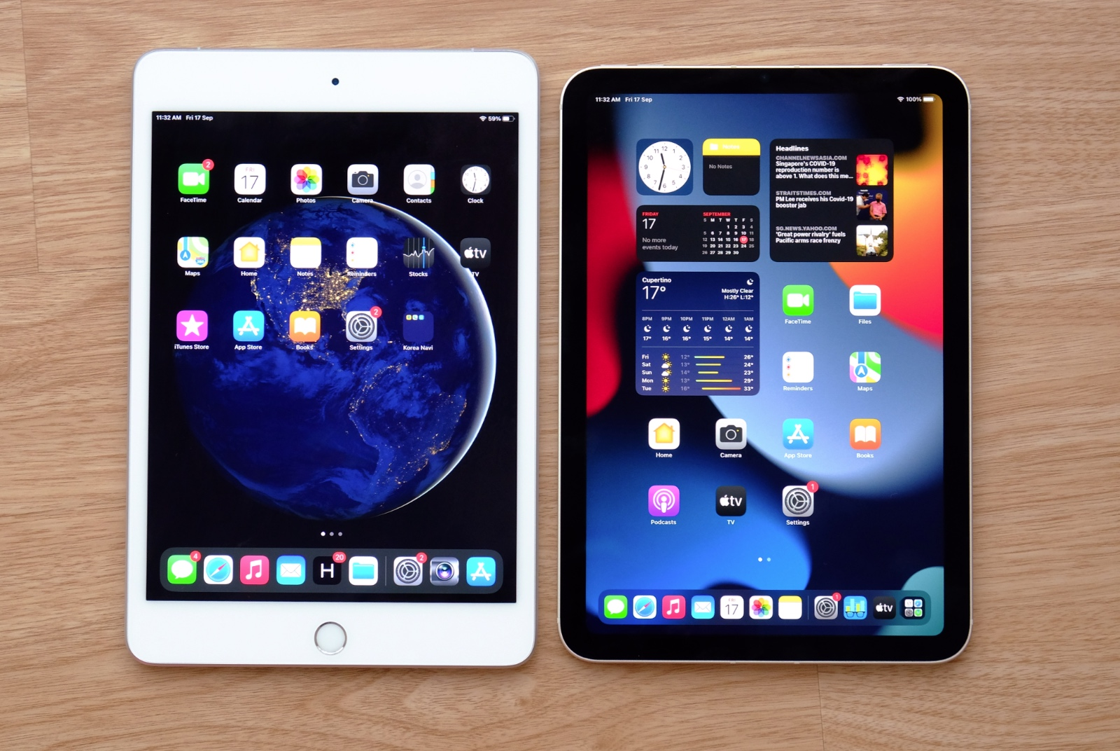 The new iPad Mini is a little smaller than the last generation version but it has a larger screen.