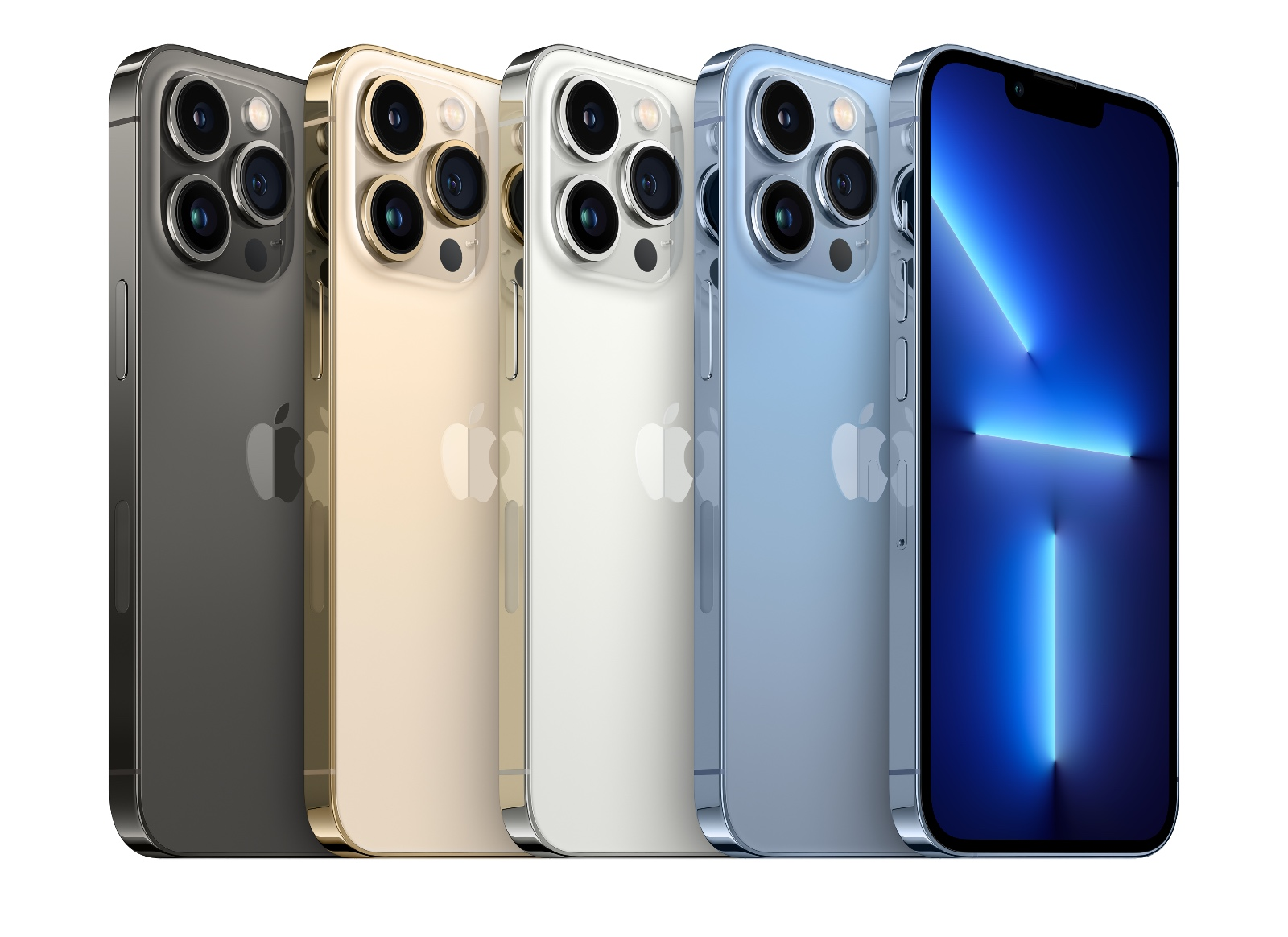 The various colours of the iPhone 13 Pro. From left to right: Graphite, Gold, Silver, and Sierra Blue.