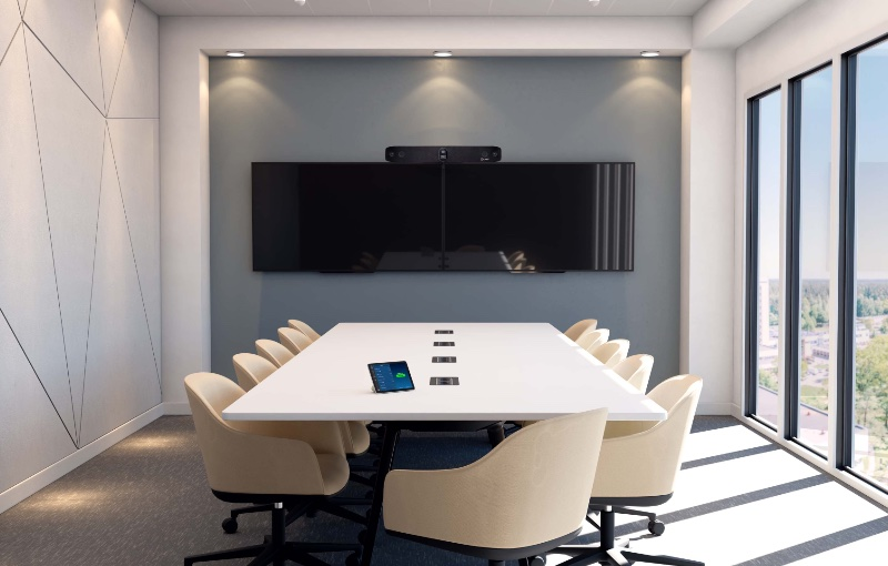 The Studio X70 video bar can work on its own in a conference room. Image source: Poly.