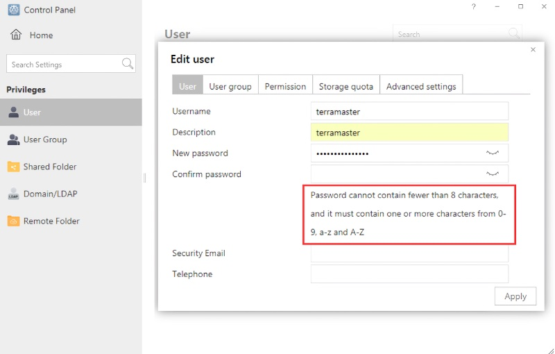 Users need to set a new account and password on setup. Image courtesy of Terramaster.