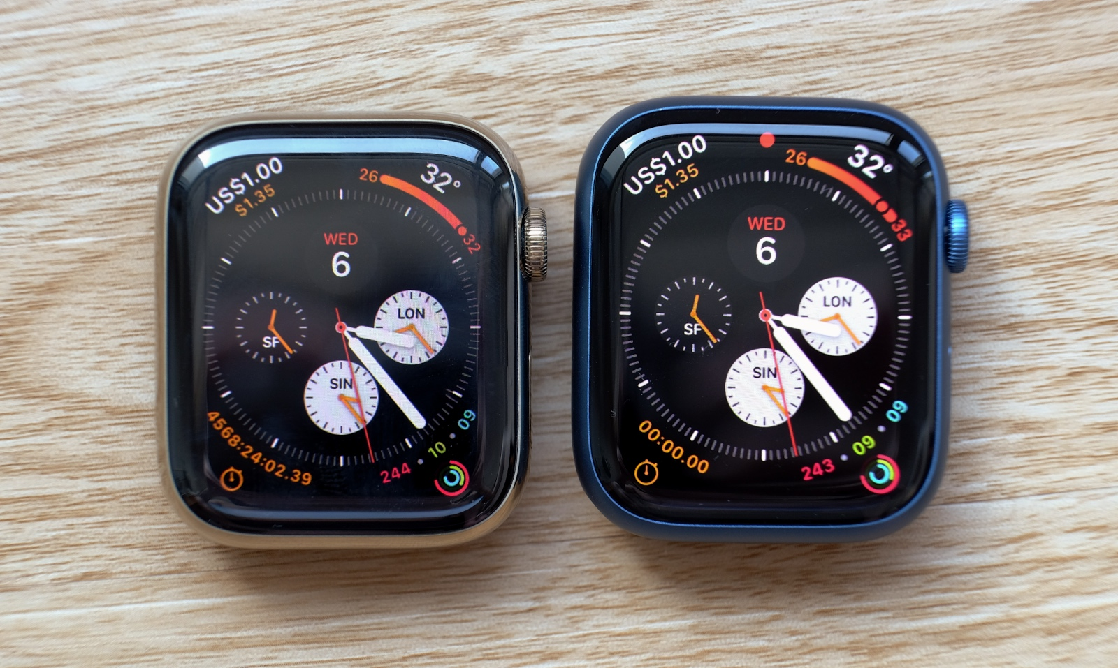 On the left is last year's 44mm Series 6 and on the right is the new Series 7.