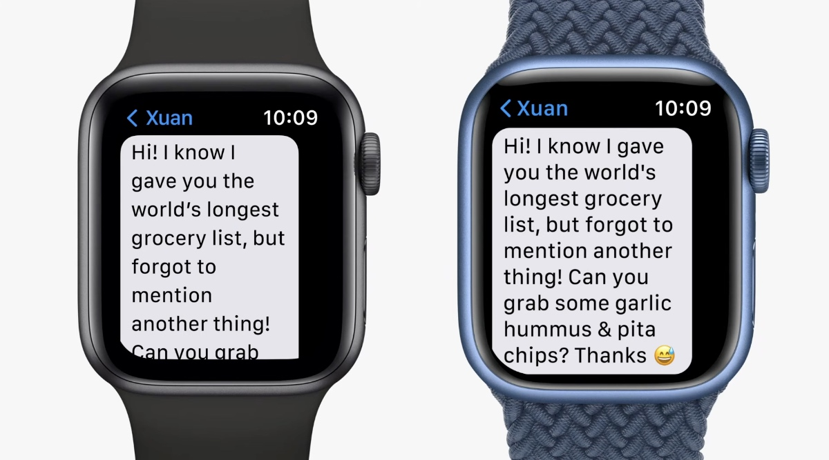 During the keynote, Apple showed this example of how much more text the new Series 7 watches can show.