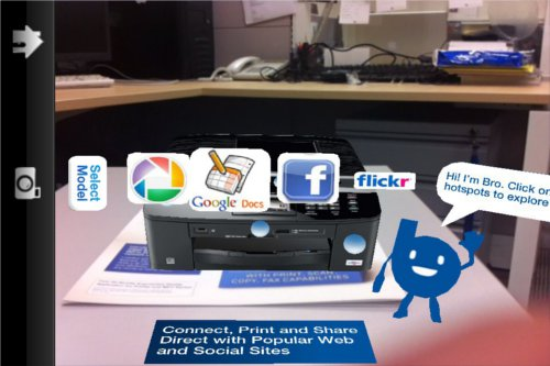 There blue spots on the printer are the hotspots where you can tap to view the various functions of the printer.