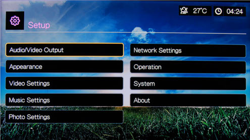 Here are the available submenus residing in the Setup menu. You can configure audio and video-related settings, network settings, system settings, and even how the home screen looks.