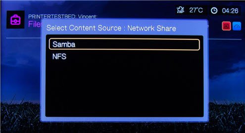 The WD TV Live supports network shares via Samba or NFS.
