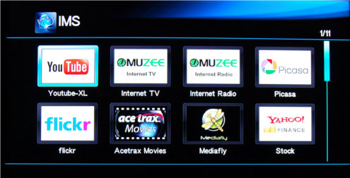 The long list of Internet content and services that the Mini Plus offers.
