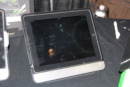 Seen here is a test unit of the Belkin Thunderstorm that fits flush with the Apple iPad.