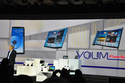 Samsung unveiled the flexible YOUM OLED display at CES 2013.