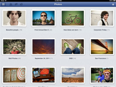 Here's a look at how pictures on Facebook will look like on your iPad. (Source: Facebook)