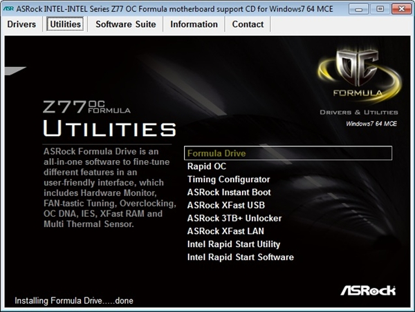 From the bundled installation DVD, we installed the ASRock Formula Drive software.
