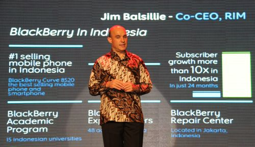 Jim Balsillie, Co-Chief Executive Officer, Research In Motion, added glamor to the announced launch, with an appearance on stage to explain what makes BlackBerry such a popular device in Indonesia and the region.