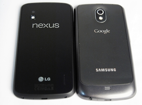 Seen here is the LG Nexus 4 (left) and Samsung GALAXY Nexus (right)