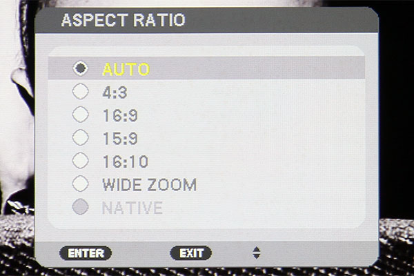 By default, the projector auto detects the aspect ratio of the incoming signal. To get a sharp image, have the source's resolution match the projector's native resolution, which is 1,024 x 768 pixels.