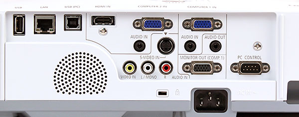 The M311X has no lack of video inputs: HDMI, VGA (two), S-Video, composite - you name it. You get monitor-out, RS-232C, and RJ-45 terminals too. Notice there are also two different USB ports (we'll explain their uses later).