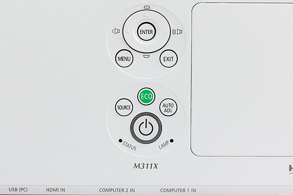Buttons on the cabinet are nicely sized and clearly labeled. Labels along the edge give you an idea of the positions for the topmost row of connectors.