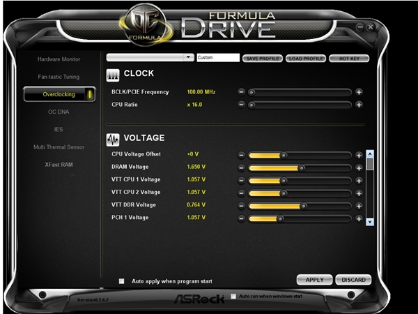 The Overclocking utility allows us to save our different profiles to the local drive of our system. There is even a 'hot key' option.